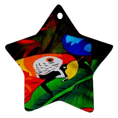 Papgei Red Bird Animal World Towel Star Ornament (two Sides)