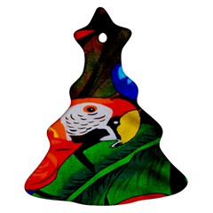 Papgei Red Bird Animal World Towel Christmas Tree Ornament (two Sides)