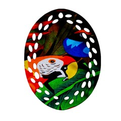 Papgei Red Bird Animal World Towel Oval Filigree Ornament (two Sides)