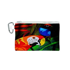 Papgei Red Bird Animal World Towel Canvas Cosmetic Bag (S)