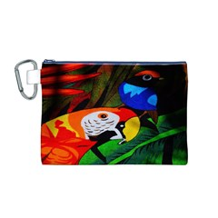 Papgei Red Bird Animal World Towel Canvas Cosmetic Bag (m)