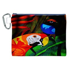 Papgei Red Bird Animal World Towel Canvas Cosmetic Bag (XXL)