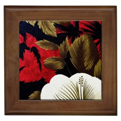 Paradis Tropical Fabric Background In Red And White Flora Framed Tiles