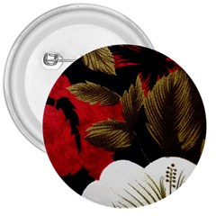 Paradis Tropical Fabric Background In Red And White Flora 3  Buttons
