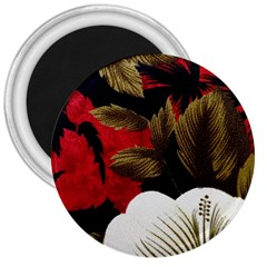 Paradis Tropical Fabric Background In Red And White Flora 3  Magnets