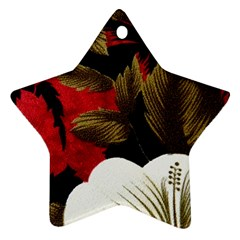 Paradis Tropical Fabric Background In Red And White Flora Ornament (Star)