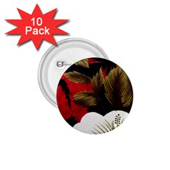 Paradis Tropical Fabric Background In Red And White Flora 1.75  Buttons (10 pack)