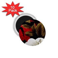 Paradis Tropical Fabric Background In Red And White Flora 1 75  Magnets (10 Pack)