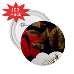 Paradis Tropical Fabric Background In Red And White Flora 2.25  Buttons (100 pack)