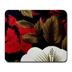 Paradis Tropical Fabric Background In Red And White Flora Large Mousepads