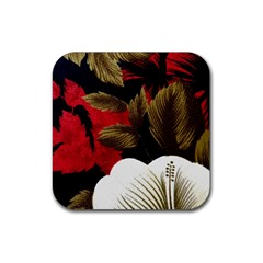 Paradis Tropical Fabric Background In Red And White Flora Rubber Square Coaster (4 pack)