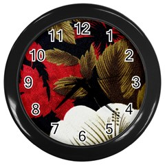 Paradis Tropical Fabric Background In Red And White Flora Wall Clocks (Black)