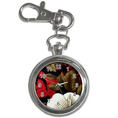 Paradis Tropical Fabric Background In Red And White Flora Key Chain Watches