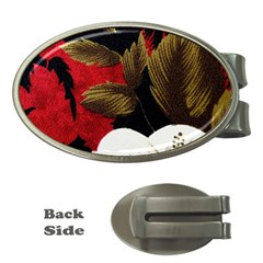 Paradis Tropical Fabric Background In Red And White Flora Money Clips (Oval)