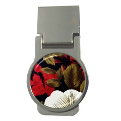 Paradis Tropical Fabric Background In Red And White Flora Money Clips (round)