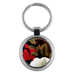 Paradis Tropical Fabric Background In Red And White Flora Key Chains (Round)