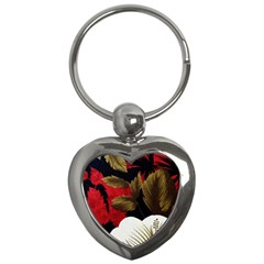 Paradis Tropical Fabric Background In Red And White Flora Key Chains (Heart)