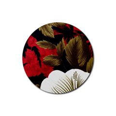 Paradis Tropical Fabric Background In Red And White Flora Rubber Round Coaster (4 pack)