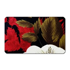 Paradis Tropical Fabric Background In Red And White Flora Magnet (Rectangular)