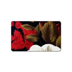 Paradis Tropical Fabric Background In Red And White Flora Magnet (Name Card)