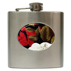 Paradis Tropical Fabric Background In Red And White Flora Hip Flask (6 Oz)