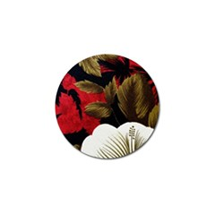 Paradis Tropical Fabric Background In Red And White Flora Golf Ball Marker (10 Pack)
