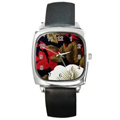 Paradis Tropical Fabric Background In Red And White Flora Square Metal Watch