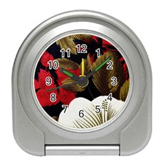 Paradis Tropical Fabric Background In Red And White Flora Travel Alarm Clocks