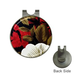 Paradis Tropical Fabric Background In Red And White Flora Hat Clips With Golf Markers