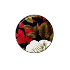 Paradis Tropical Fabric Background In Red And White Flora Hat Clip Ball Marker