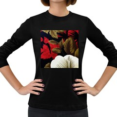 Paradis Tropical Fabric Background In Red And White Flora Women s Long Sleeve Dark T-Shirts