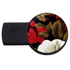 Paradis Tropical Fabric Background In Red And White Flora USB Flash Drive Round (4 GB)