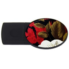 Paradis Tropical Fabric Background In Red And White Flora USB Flash Drive Oval (4 GB)