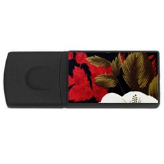Paradis Tropical Fabric Background In Red And White Flora USB Flash Drive Rectangular (4 GB)