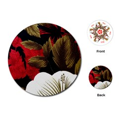Paradis Tropical Fabric Background In Red And White Flora Playing Cards (Round)