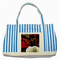 Paradis Tropical Fabric Background In Red And White Flora Striped Blue Tote Bag