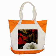 Paradis Tropical Fabric Background In Red And White Flora Accent Tote Bag