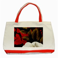 Paradis Tropical Fabric Background In Red And White Flora Classic Tote Bag (red)
