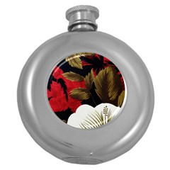 Paradis Tropical Fabric Background In Red And White Flora Round Hip Flask (5 oz)