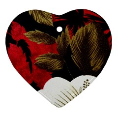 Paradis Tropical Fabric Background In Red And White Flora Heart Ornament (Two Sides)