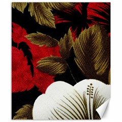 Paradis Tropical Fabric Background In Red And White Flora Canvas 8  x 10