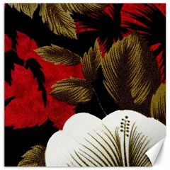 Paradis Tropical Fabric Background In Red And White Flora Canvas 12  x 12