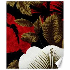 Paradis Tropical Fabric Background In Red And White Flora Canvas 20  X 24