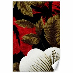 Paradis Tropical Fabric Background In Red And White Flora Canvas 24  X 36