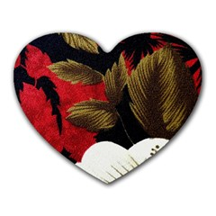 Paradis Tropical Fabric Background In Red And White Flora Heart Mousepads