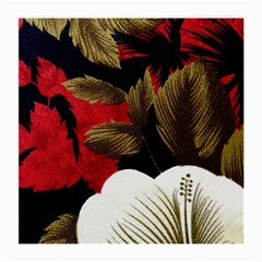Paradis Tropical Fabric Background In Red And White Flora Medium Glasses Cloth
