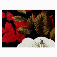 Paradis Tropical Fabric Background In Red And White Flora Large Glasses Cloth (2-Side)