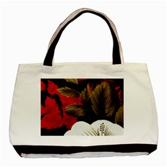 Paradis Tropical Fabric Background In Red And White Flora Basic Tote Bag (Two Sides)
