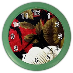Paradis Tropical Fabric Background In Red And White Flora Color Wall Clocks