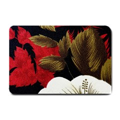 Paradis Tropical Fabric Background In Red And White Flora Small Doormat